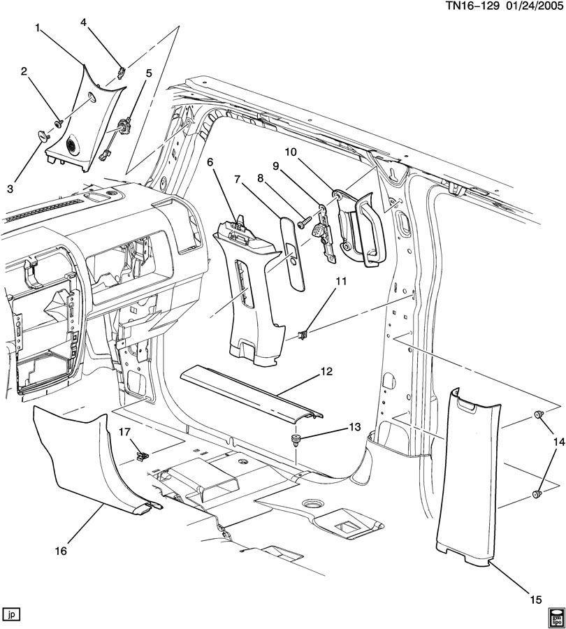 2006-10 Hummer H3 LH B-Pillar Trim Panel Gray New OEM