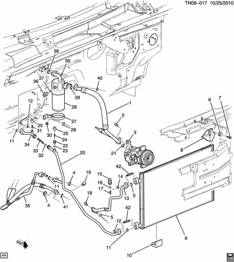 2008-2009 Hummer H2 AC Compressor Accumulator Hose Line
