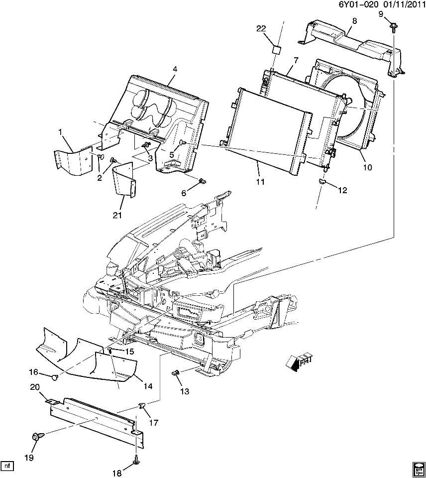2009 Cadillac XLR LH Left Radiator Rubber Air Deflector