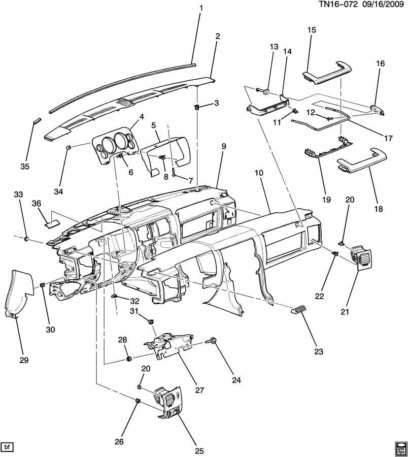 2008-2009 Hummer H2 LH Headlight Switch Bezel W/Vent