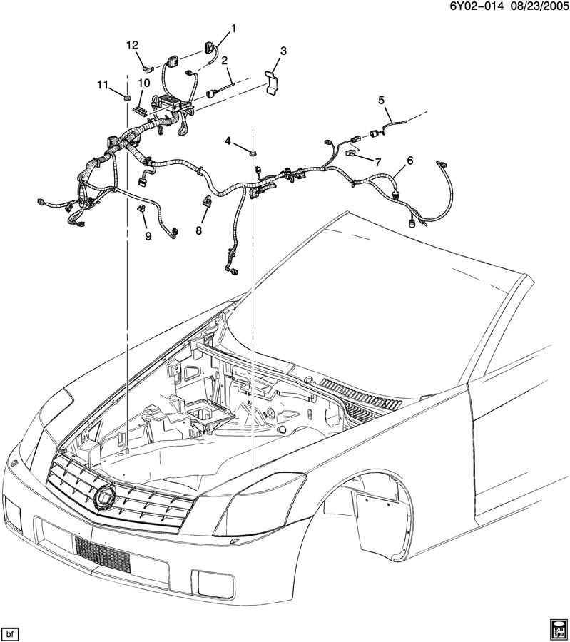2009 Cadillac XLR Front Headlamp Signal Lamp Wiring