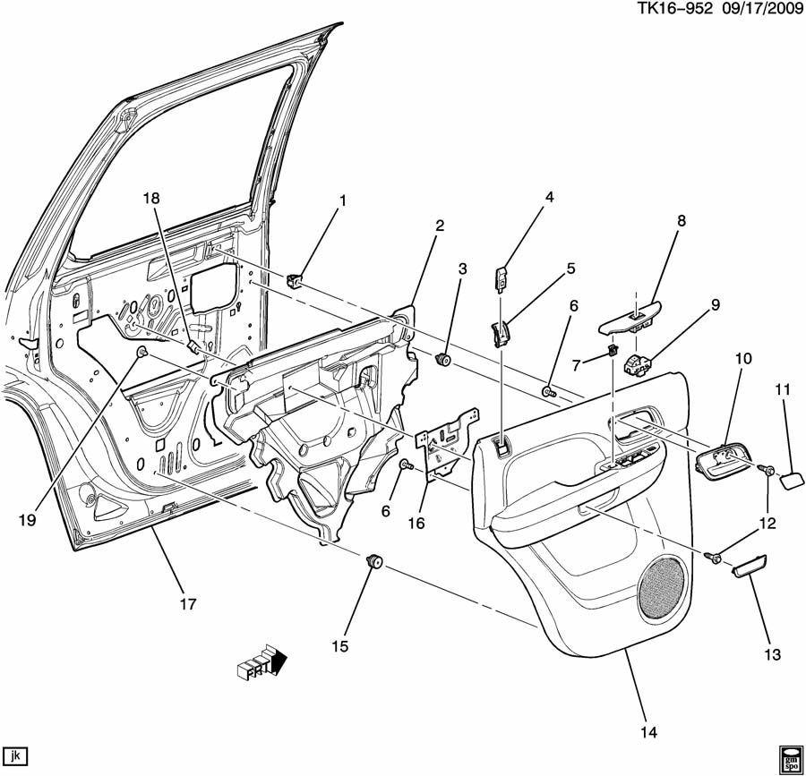 2007-2014 GM Rear RH Door Window Switch Trim Brushed