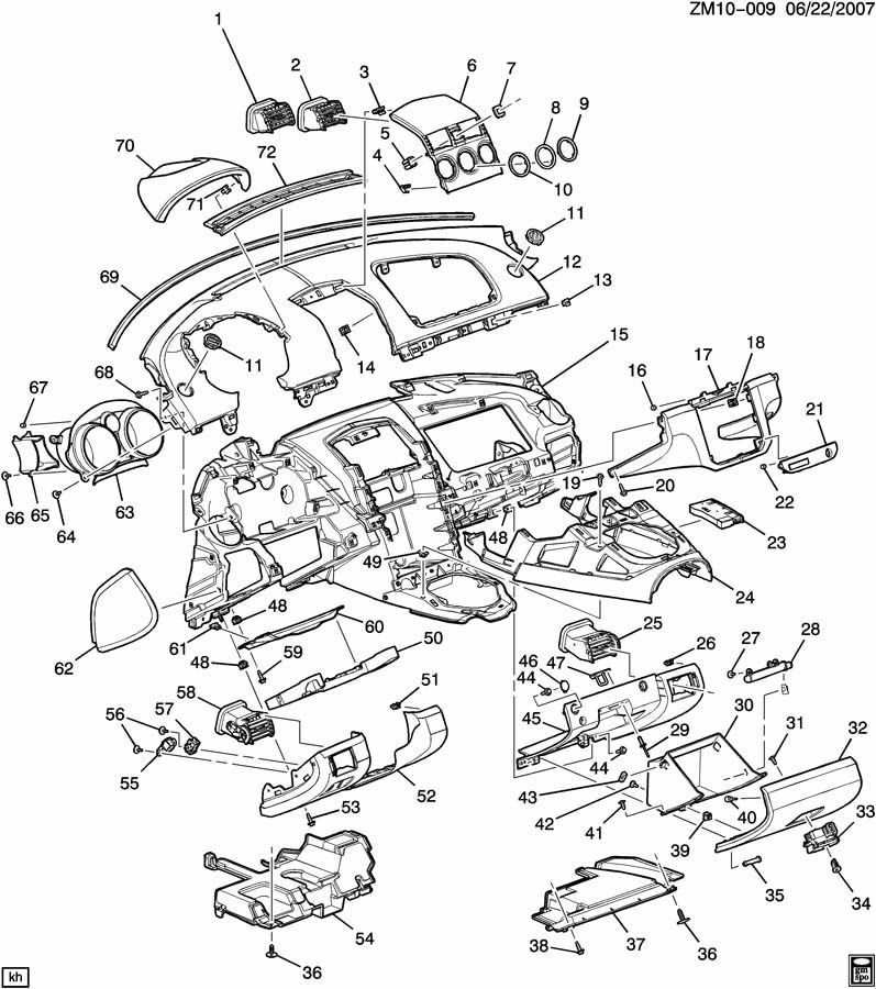 2007-2009 Saturn Sky Instrument Panel Driver Knee Bolster