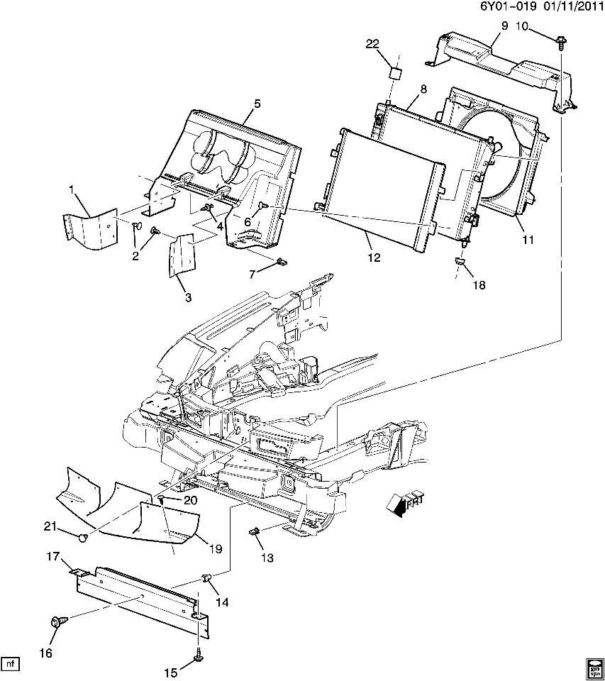 Cadillac XLR RH Right Side Radiator Rubber Air Deflector