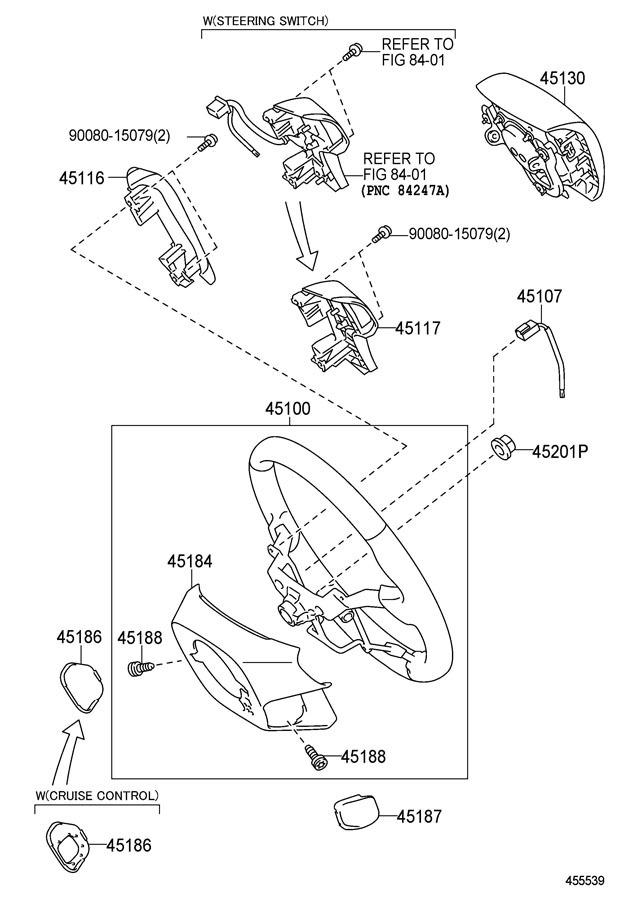 2011-14 Toyota Sienna Steering Column Trim Cover RH Light