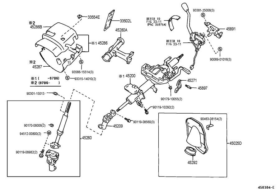 1998-2001 Toyota Tacoma Upper Steering Column Trim