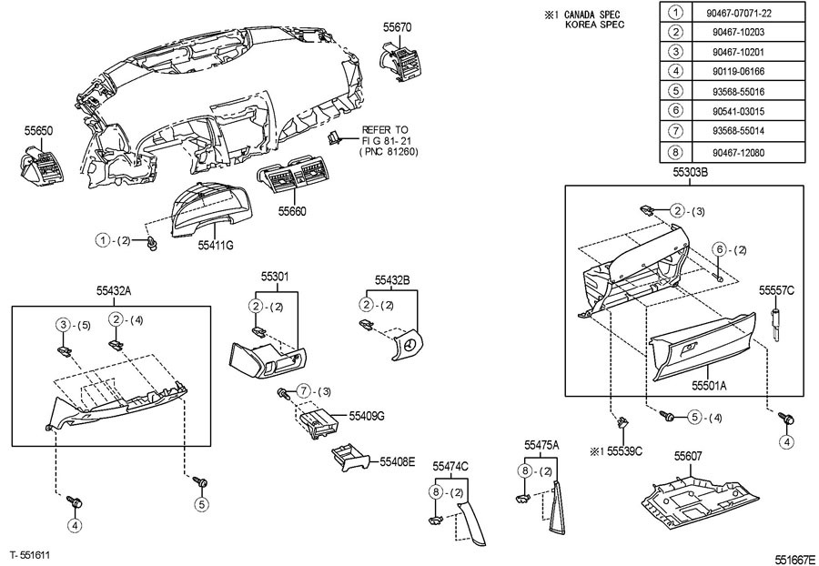 2007-2011 Toyota Camry Hybrid Glove Box Assembly New OEM
