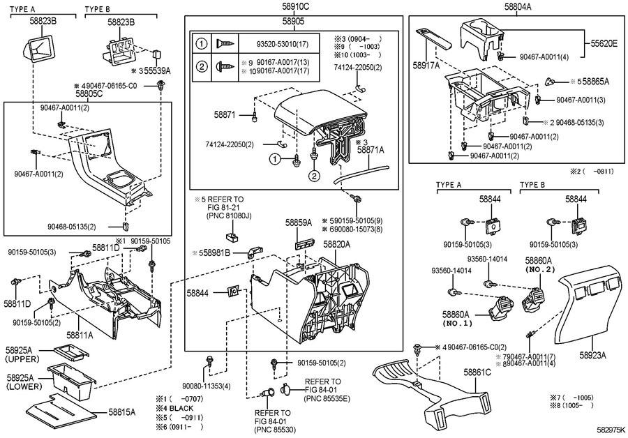 2007-2010 Toyota Tundra Rear Center Console Assembly Black