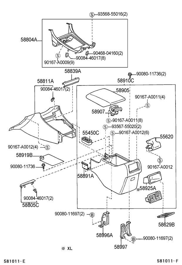 2000-2002 Toyota Avalon Center Console Assembly New OEM