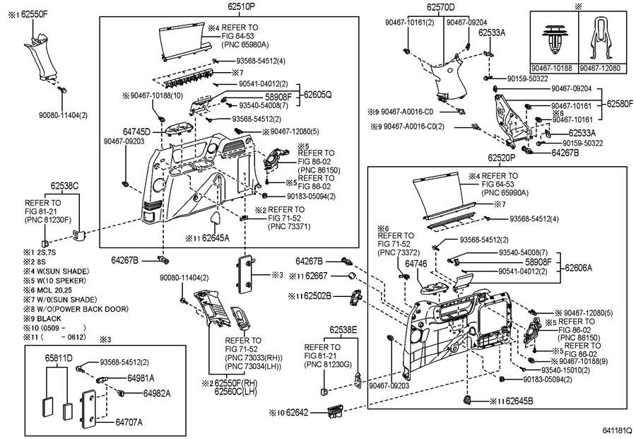 2004-07 Toyota Sienna Rear Left LH Quarter Trim Piece New