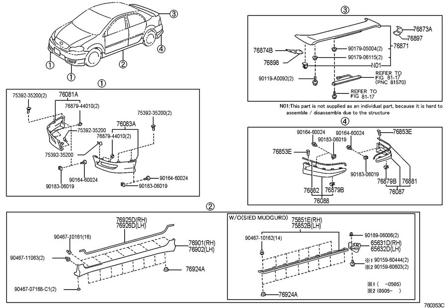 toyota corolla parts diagram spot welder wiring 2003 2008 lh side rear skirt extension trim new 6563202030