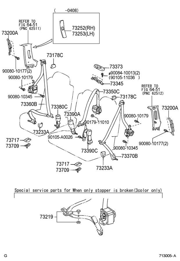 2001-04 Toyota Tundra Sequoia Seatbelt Cover Trim LH Med