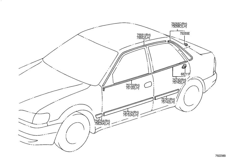 1998-2002 Toyota Corolla Rear LH Side Window Trim Roof