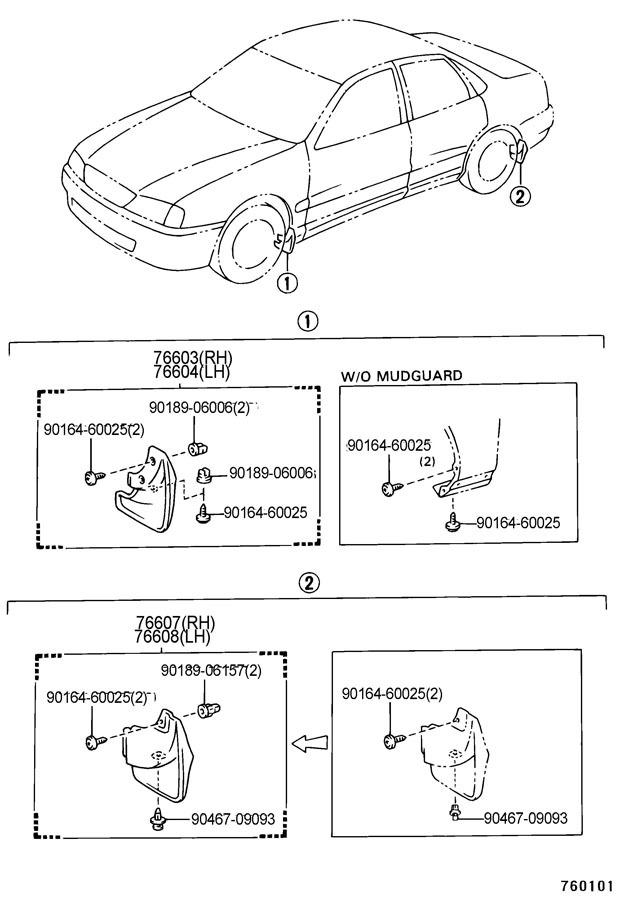 1995-1997 Toyota Avalon Right Rear Mudflap Mud Guard New