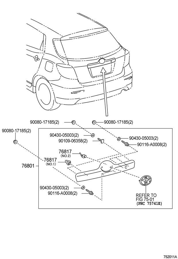 2009-10 Toyota Matrix Rear Trim Nameplate Bezel Garnish