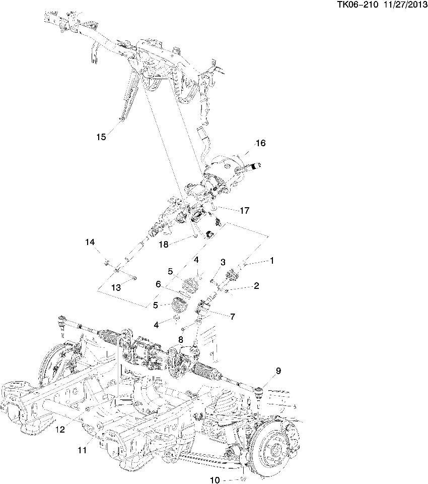 14-15 GM Silverado Sierra Steering Column W/Tilt & Manual