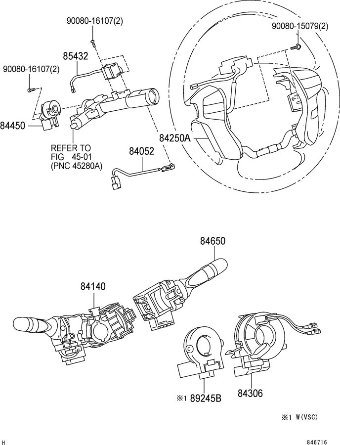 2005-2007 Toyota Avalon Steering Wheel Switch Assembly