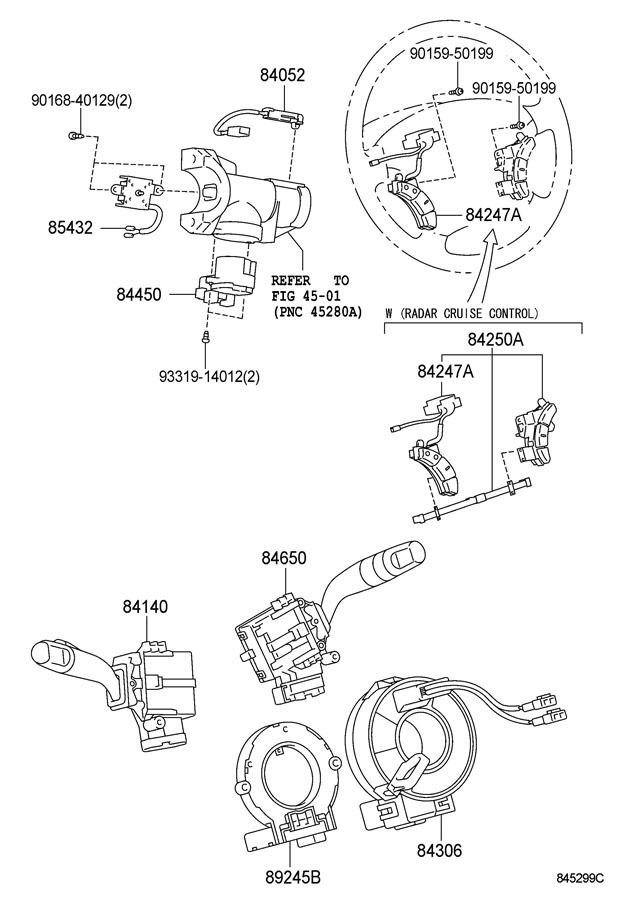 2006-2010 Toyota Sienna Steering Wheel Switch Assemblies
