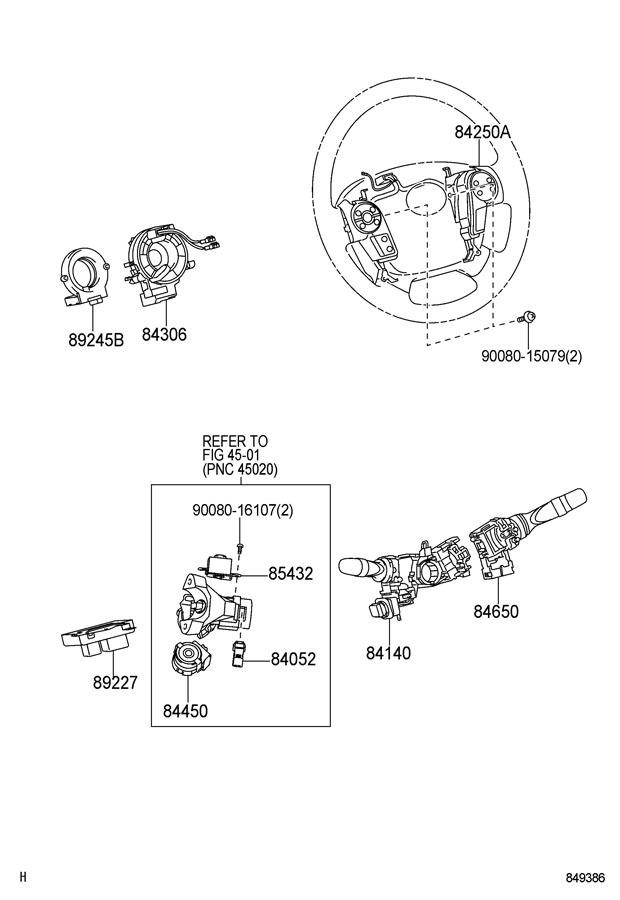 2008-2011 Toyota Sequoia Steering Wheel Switches New Dark