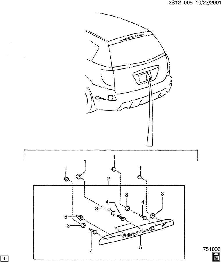 2004-2006 Pontiac Vibe Rear Liftgate Trim Molding Fusion