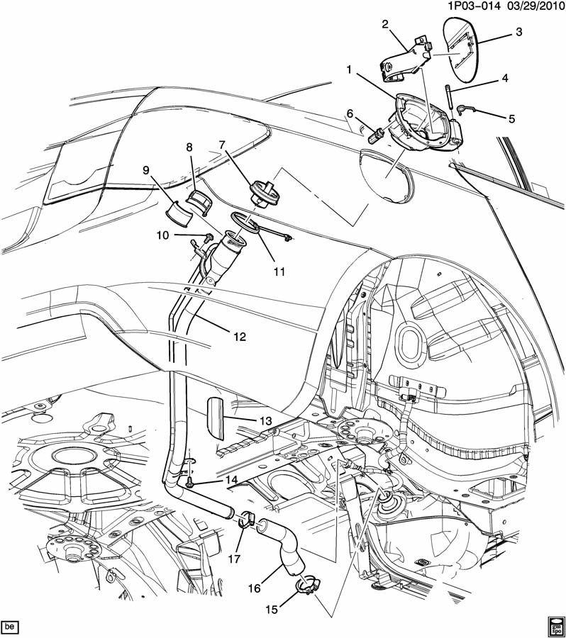 11-14 Chevrolet Chevy Cruze Fuel Gas Lid Housing W/ Hinge