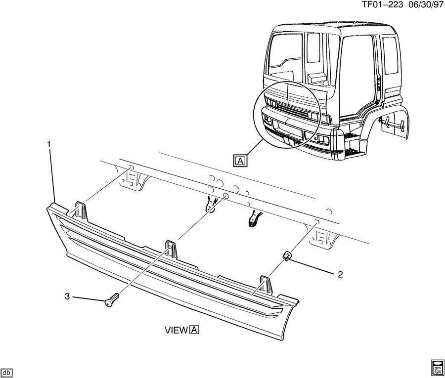 1997-09 Isuzu Topkick Tilt Cab Front Grille Black T6500
