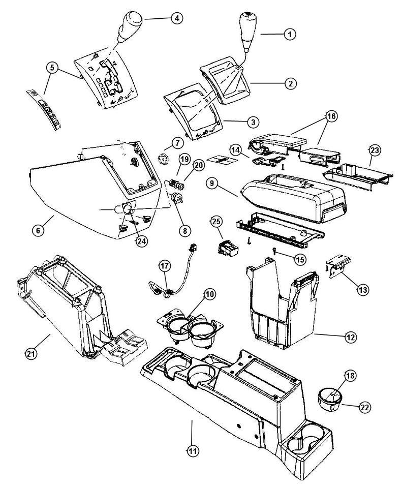 2007-2009 Dodge Caliber Center Console Armrest Flip Up Lid