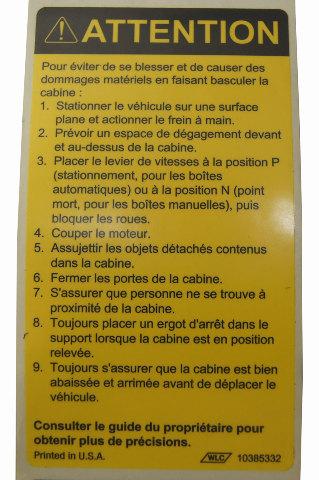 trailer brake warning chevy silverado wiring diagram hotpoint aquarius tumble dryer 1997-2009 gmc topkick/chevy kodiak caution label tilt cab french new 10385332
