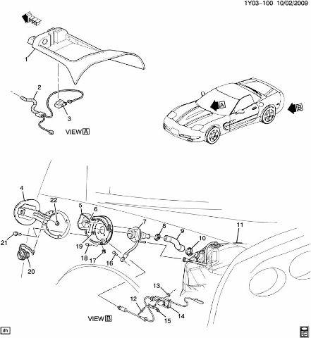 1997-1999 Chevrolet Corvette C5 Fuel Filler Neck Pipe Used