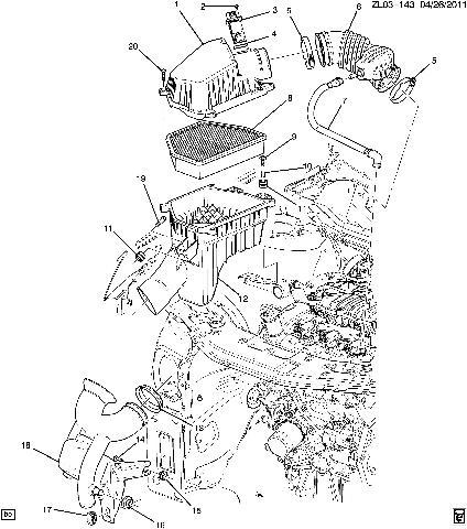 2011-2012 Chevrolet Equinox Captiva 3.0 Flex V6 PCV Tube