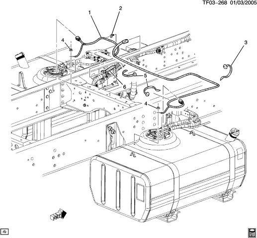 2004-09 Topkick Kodiak T6500-T8500 Dual Tank Fuel Wire
