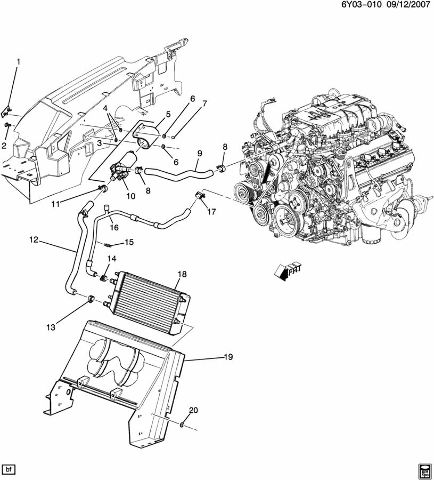 Cadillac XLR XLR-V Supercharger Hose Pump Hose Radiator to
