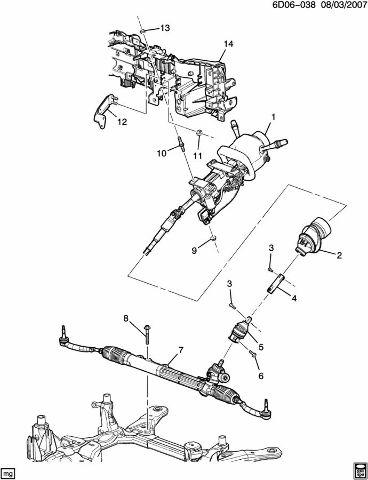 2004-2011 Cadillac STS & SRX Steering Shaft Gear Lower