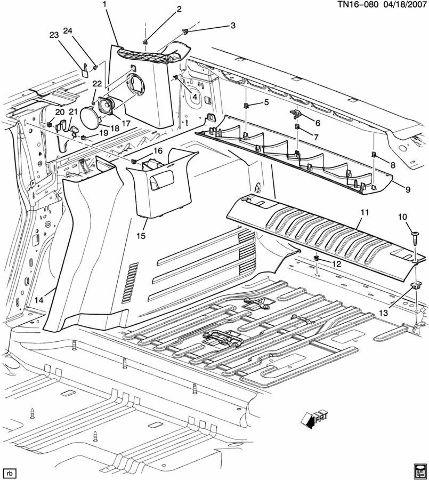 2008-09 Hummer H2 Interior Trim Panel LH C-Pillar Seat