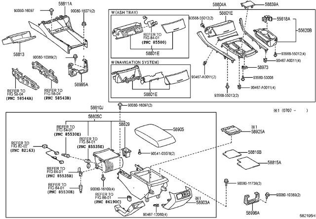 2005-2007 Toyota Avalon Dash Center Console Frame Trim