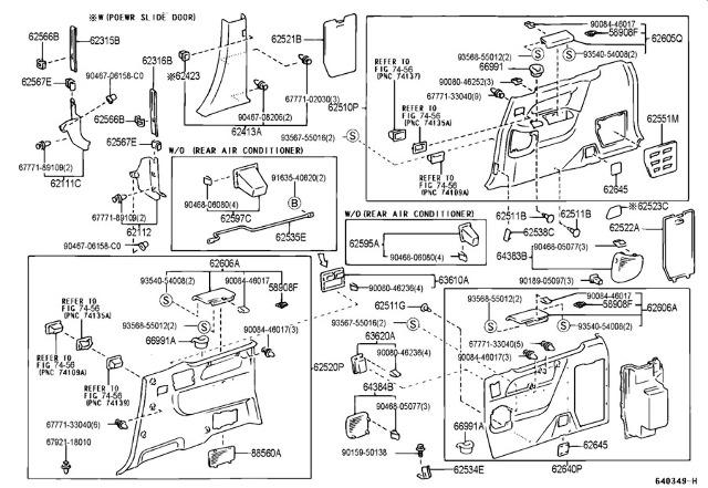 2000-03 Toyota Sienna Lower RH Center Pillar Trim Panel