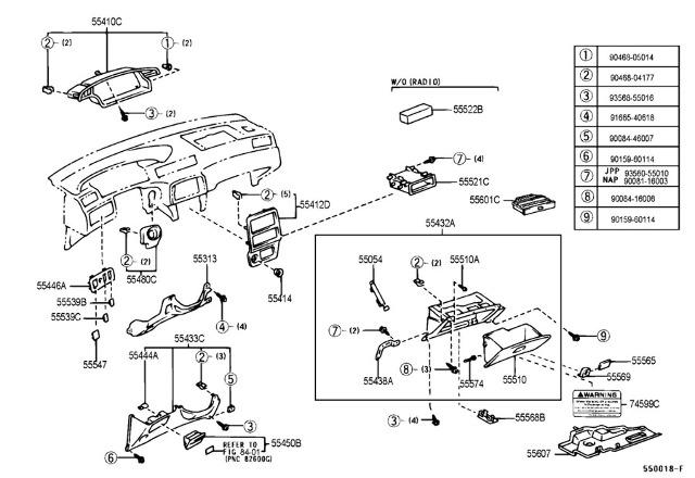 1999-2003 Toyota Solara & Camry Clips Qty: 4 Interior Dash