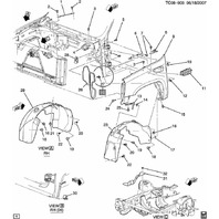 2007-2012 GM Trucks RH Front Inner Wheel Liner Splash