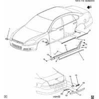 2006-2014 Chevy Impala Rear LH Door Outside Body Moulding