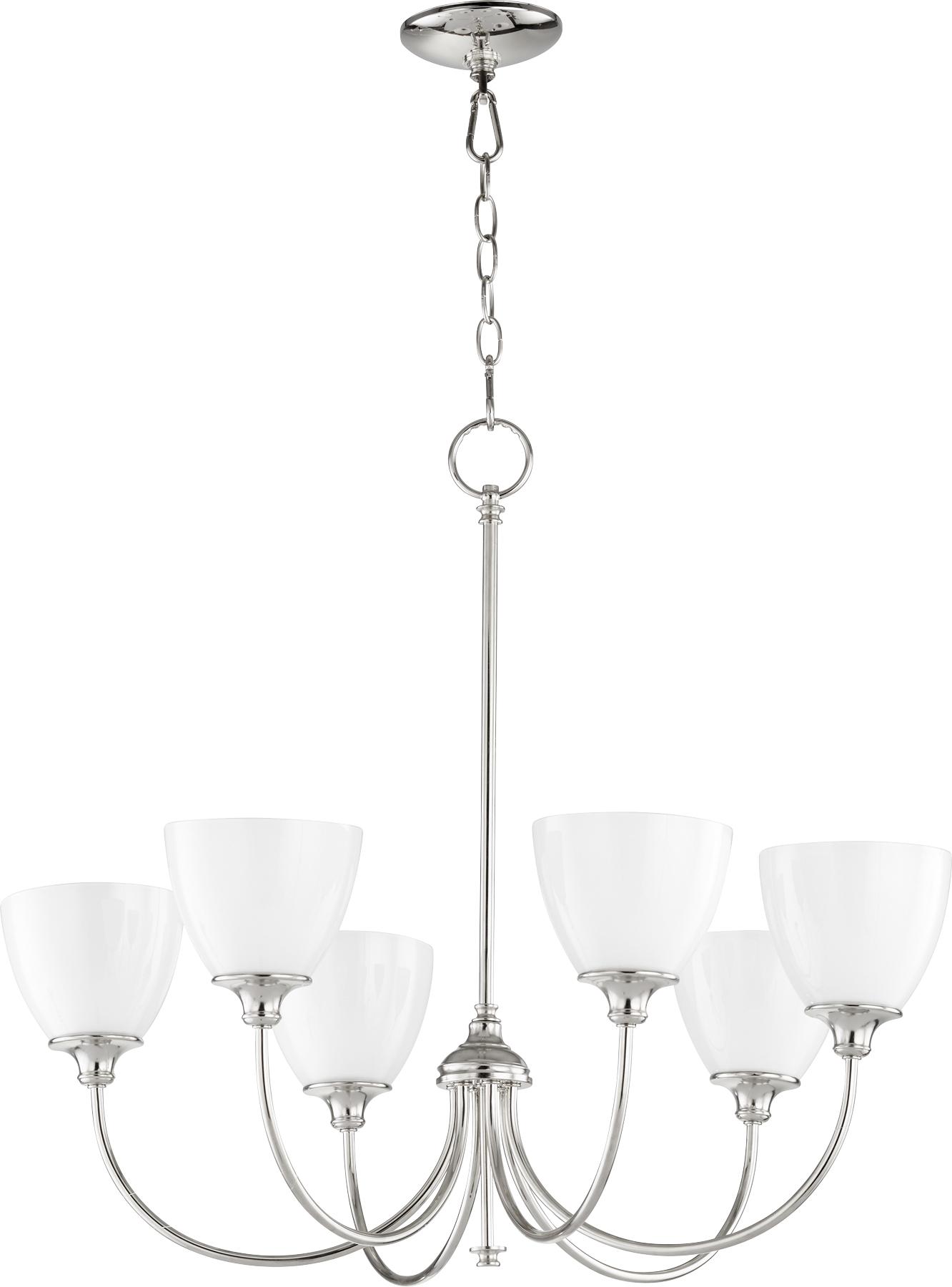 Polished Nickel Celeste 6 Light 28 Wide Chandelier W White Opal Glass Shades