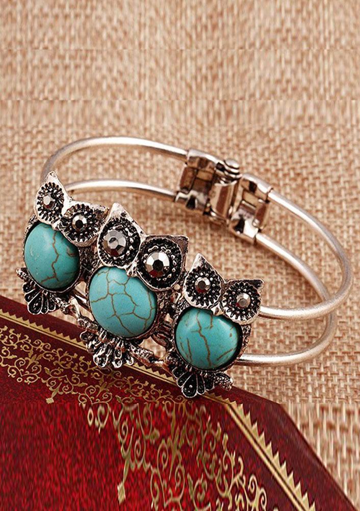 Owl Turquoise Cuff Bangle Bracelet  Fairyseason