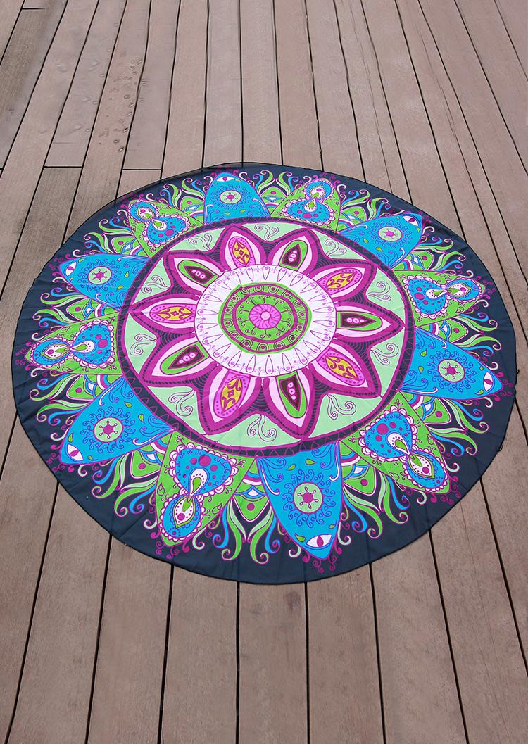 Mandala Pattern Round Blanket  Fairyseason