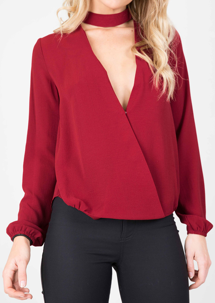 Solid Chiffon Long Sleeve Fashion Blouse  Fairyseason