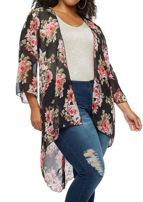 Plus Size Floral Asymmetric Chiffon Cardigan  Fairyseason