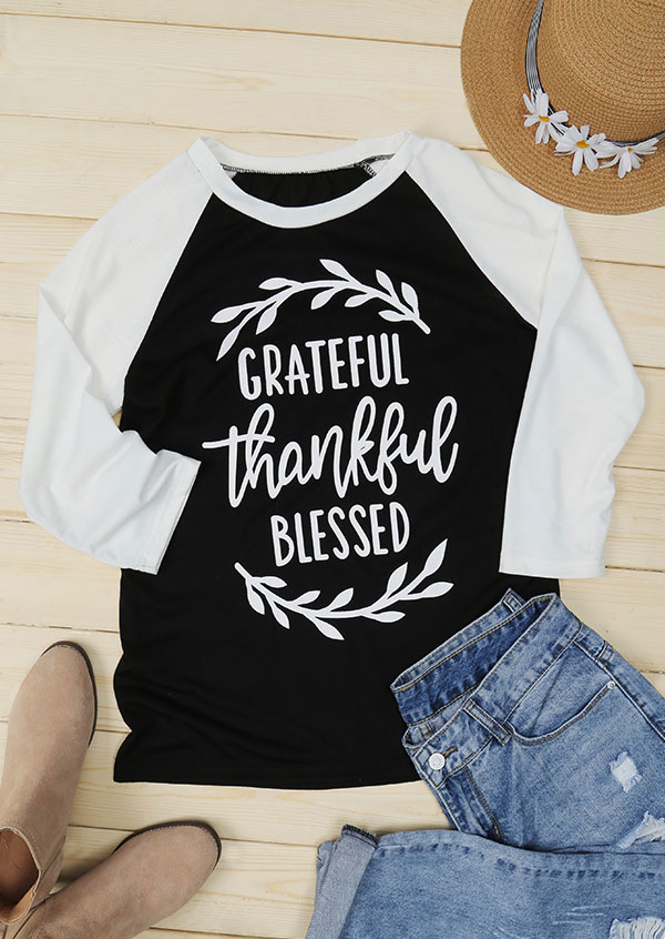 Grateful Thankful Blessed ONeck Baseball TShirt  Fairyseason