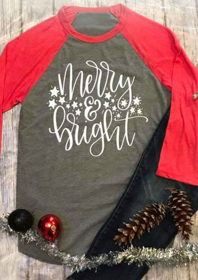 Christmas Plus Size Merry  Bright Baseball TShirt