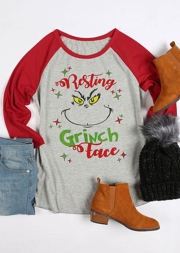 Christmas Resting Grinch Face Baseball TShirt  Fairyseason