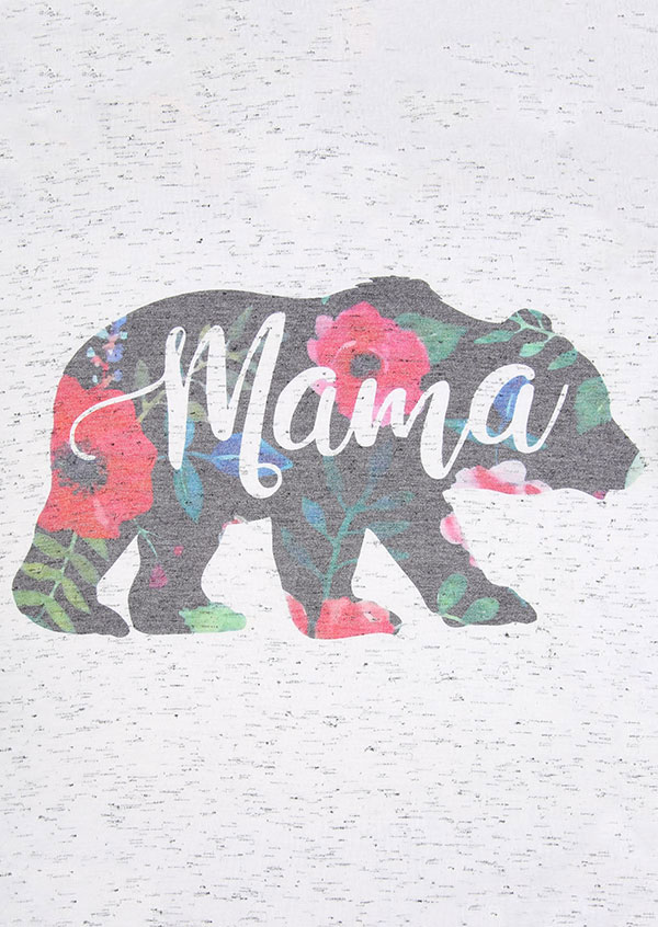 Mama Bear Floral VNeck TShirt  Fairyseason