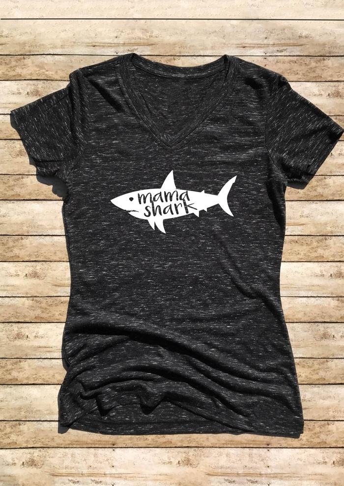 Mama Shark VNeck TShirt Tee  Fairyseason