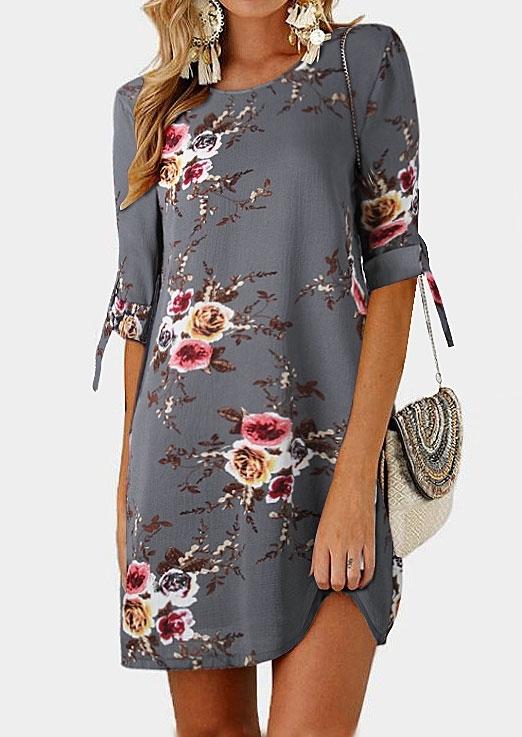 Mini Dresses Floral Tab-Sleeve O-Neck Mini Dress in Gray,Khaki. Size: L,2XL,3XL,4XL,5XL